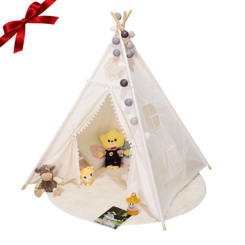 Large Original Teepee Kids Teepee with Grey Indian Play Tent House Children Tipi Tee Pee Tent for 2 10 years old