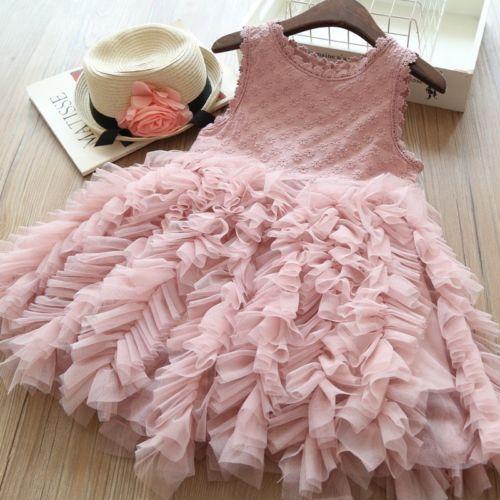 Baby Girls Toddler Kids Chiffon Sleeveless Party Wedding Pageant Dress Tutu 2-9Y