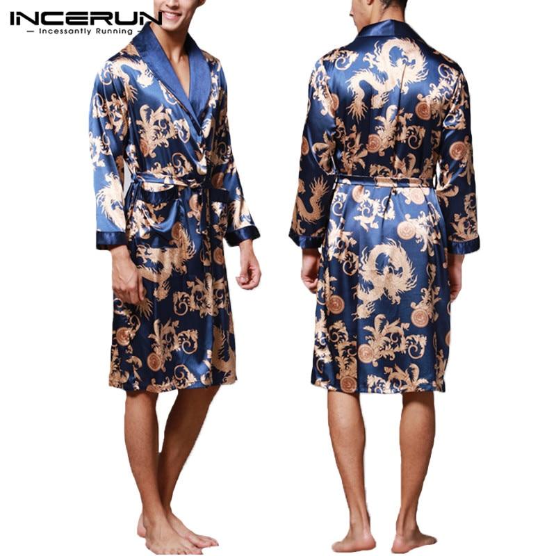 INCERUN Fashion Satin Silk Pajamas Mens Robe Long Sleeves Bathrobe Lucky Chinese Dragon Print Gown Bathrobe Sleepwear Lounge