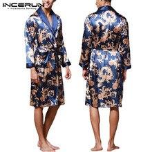 08a7931a33 INCERUN Mode Satin Silk Pyjamas Herren Robe Mit Langen Ärmeln Bademantel  Glück Chinesischen Drachen Druck Kleid
