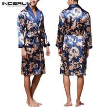 INCERUN Fashion Satin Silk Pajamas Mens Robe Long Sleeves Ba