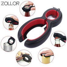 ZOLLOR 6 in 1 Multi Function Twist Stainless steel Bottle Opener, All in One Jar Gripper Can Wine Beer Lid Twist Off Jar Claw zollor 2pcs random color beer bottle opener keychain 4 in 1 pocket aluminum can opener jar openers 6 colors wedding favor gifts