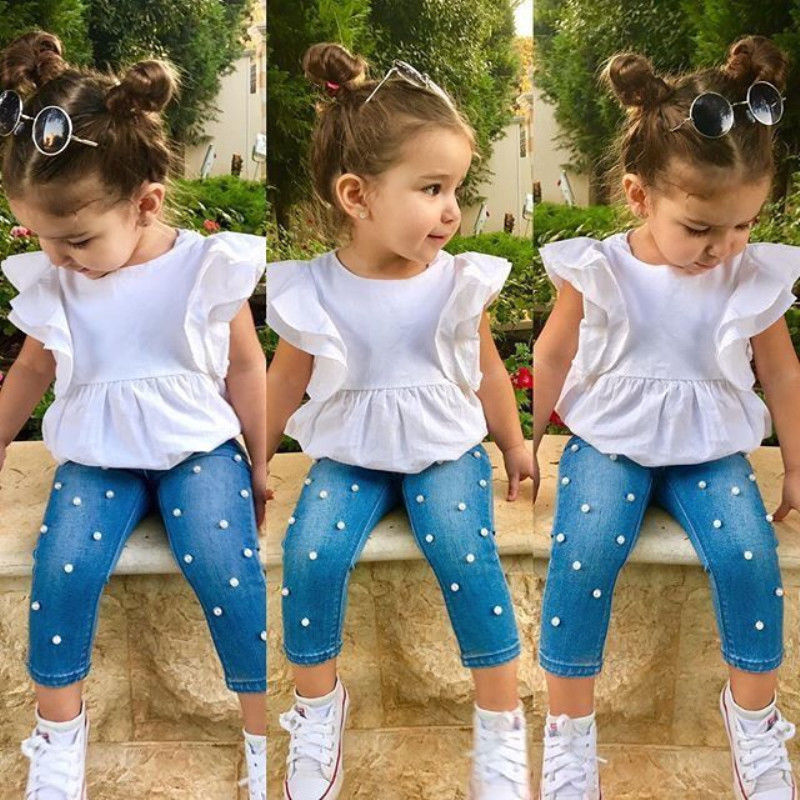 2Pcs Toddler Kids Baby Girls Clothes Sets Fashion Infant Girls Cotton Top T-shirt+Denim Pearl Long Pants 2pcs Outfits Clothes