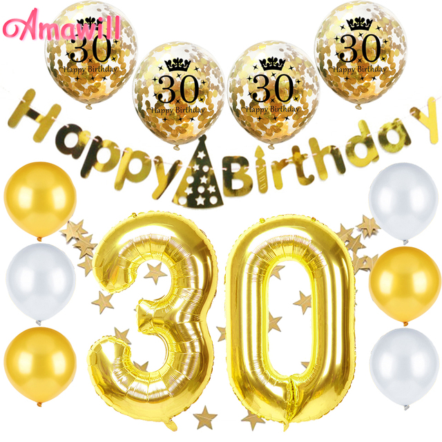 Amawill Celebrate 30th Birthday Party Decorations For Gold Confetti Balloon 40inch Number 30 Balloons Happy Banner 8D