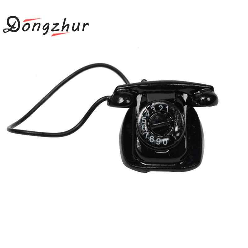 Dongzhur Mini Retro Small Phone Toy Dollhouse Miniatures 1:12 Accessories Doll House Phone Model Black Color Selection