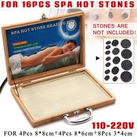 16Pcs Bamboo Natural Energy Massage Hot Stone Heater Kit Carry Case Box 220V 110V Spa Basalt Hot Stones Massage Natural Therapy