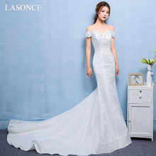 LASONCE Crystal Sweetheart Lace Appliques Mermaid Wedding Dresses Off The Shoulder Sweep Train Backless Bridal Gowns