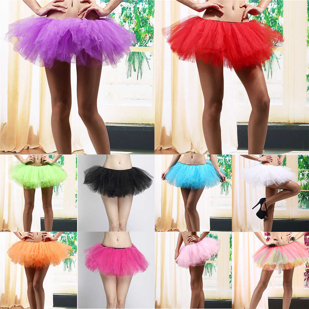 4021b6c5a 10 Colors Sexy Tutu Tulle Skirt Women Adult Elastic Stretch Waist 5 Layers  Skirts Underskirt Girls