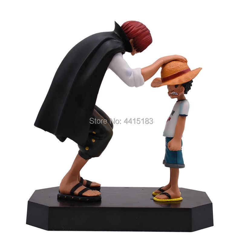 Anime uma peça quatro emperors shanks palha chapéu luffy pvc figura de ação indo boneca feliz collectible modelo brinquedo presente natal