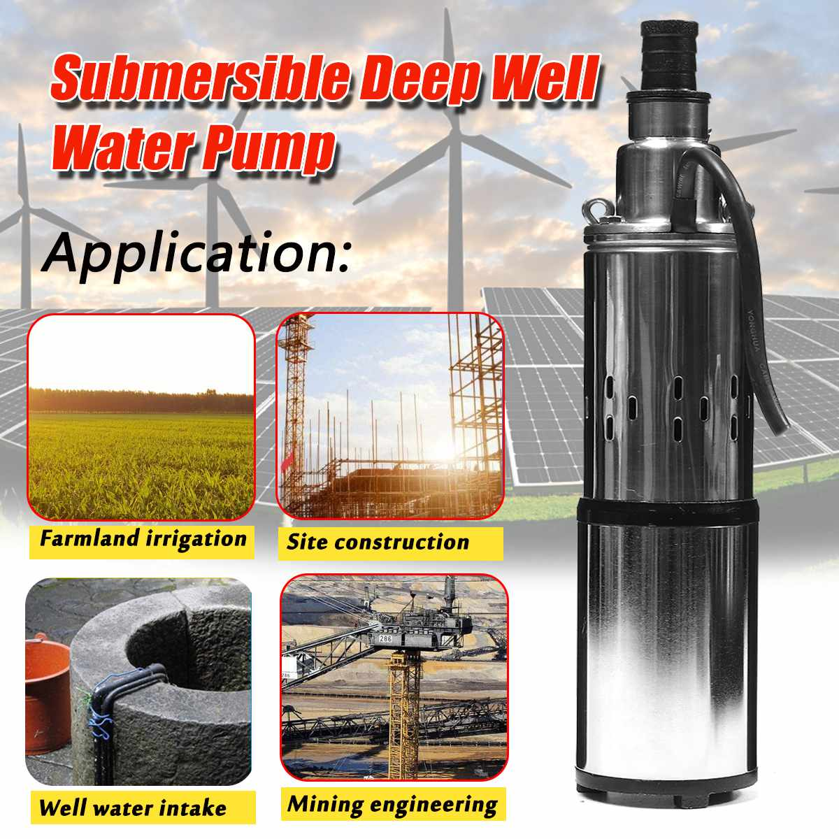DC 48V 60V Solar Water Pump for Diving Deep Well Screw Submersibles Water Pumps Irrigation Garden Home Agricultural 40mDC 48V 60V Solar Water Pump for Diving Deep Well Screw Submersibles Water Pumps Irrigation Garden Home Agricultural 40m