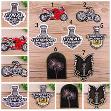 Stanley Cup Champions Patch Bordir Biker Appliques Motor Besi Pada Patch untuk Pakaian Rompi Jeans Playoff Patch(China)
