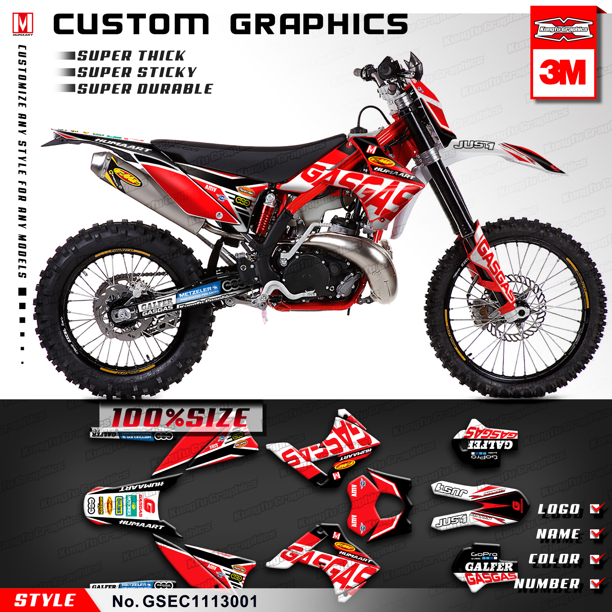 Us 129 89 Kungfu Graphics Mx Stickers Decals Kit For Gas Gas Ec 125 200 250 300 2t 450 4t Six Days 2011 2012 2013 Style No Gsec1113001 In Decals
