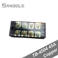 Terminal Block TBC-4504/TB-4504 Fixed Type 45A 600V 4 Position 4P 0.5-4mm2 Connection Electrical Copper a4504 hcpl 4504 hp4504