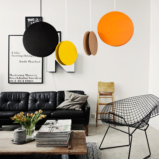 Nordic Style Colored Pod Pendant Lights For Dining Room Postmodern Suspension Pea Lamp Round Iron