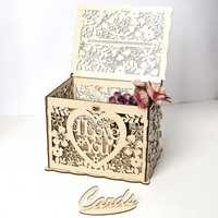 S/L Size DIY Wedding Gift Card Box Wooden Money Box with Lock Beautiful Wedding Supplies for Birthday Party I LOVE YOU Type