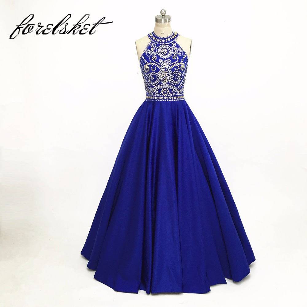 Royal Blue Backless Satin Prom Dresses 2020 Crystal Beading Halter Sequined Formal Evening Party Gowns Robe De Soiree Dos Nue