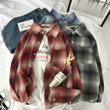Spring New Plaid Shirt Men Fashion Retro Casual Man Streetwear Loose Trend Wild Long-sleeved Male Clothes S-XL