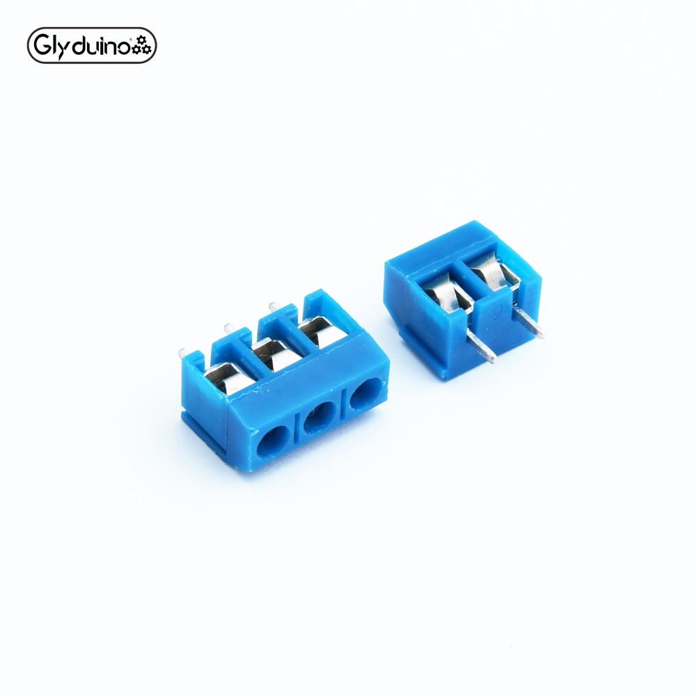 Glyduino 10PCS KF301-2P/3P 5.0-301-2P/3P  Plug-in Screw Terminal Block Contor 5.0mm Pitch Kit For Arduino