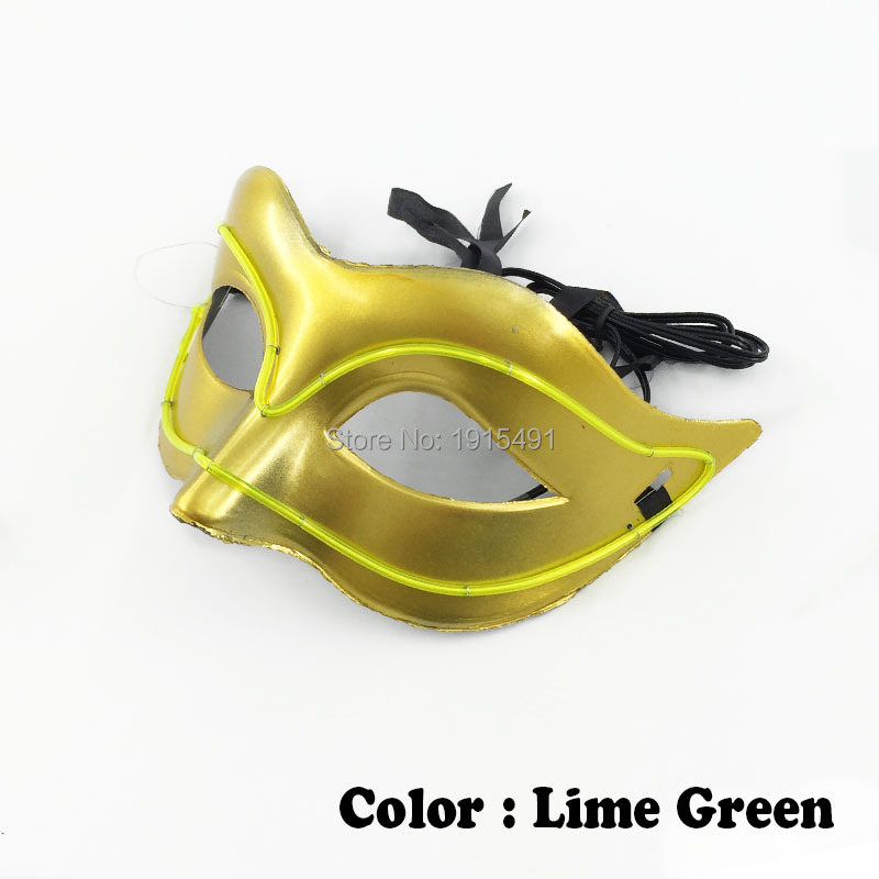 Colorful Beautiful Masquerade Decor EL Wire Mask Novelty Lighting Sound Active LED Neon Fox Mask For Birthday Party,Wedding