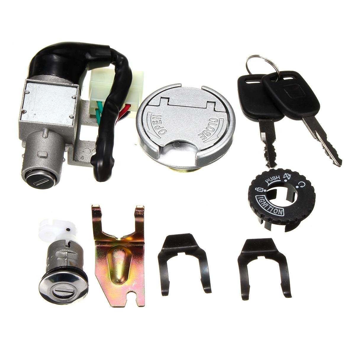 Universal Motorcycle Ignition Lock Switch Fuel Tank Cap 2 Keys For GY6 50CC Baotian Benzhou Buffalo Jmstar Jack Fox REX