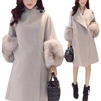 2019 Autumn/Winter Woolen Coat Jackets Warm Wool Blend Faux Fur Sleeve Long Turn down Collar Loose Coats Large Size Outerwear
