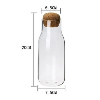 Creative Transparent Glass Water Juice Milk Bottle Clear Heat-resisting Milk Juice Water Glass Bottle with Wooden Stopper 4