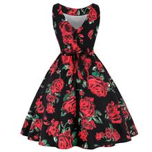 XXL 2019 Spring Summer Retro Hepburn Style Whole-body Printing with Ice Creams Roses Slim Waist Flared Dress