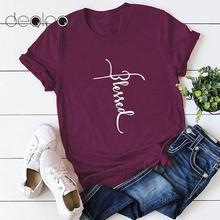2019 letnia koszulka kobiety bawełna śmieszne T Shirt błogosławiony list drukuj śliczne Tee Shirt Casual topy 2019 lato tuniki Plus rozmiar 5XL tanie tanio ANSELF COTTON NONE Suknem Na co dzień Tees Letter Krótki REGULAR Cotton Funny T-Shirt O-neck