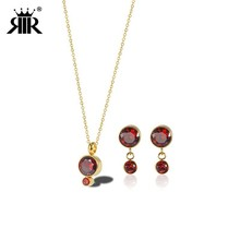 RIR Stainless Steel Metal Gold Crystal Pendant Necklace Earrings Jewelry Set Gift The Best Choice цена и фото
