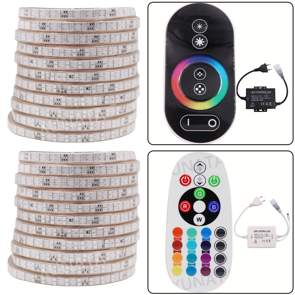 220V RGB Led Strip Light 5050 Multi Color RGB Waterproof Led Stripe Touch/Remote Controller 1m 2m 5m 10m 15m 20m 50m 100m