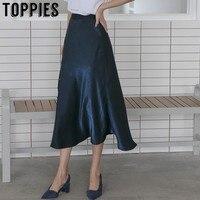 2019 High Waist Silk Satin Skirts Womens Summer Skirts Knee Length A Line Skirt Korean Style