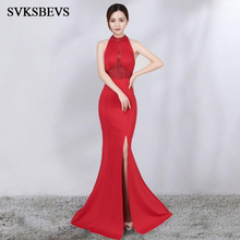 SVKSBEVS Luxury Crystal Halter 2019 Sexy Split Mermaid Long Dresses Elegant Maxi Off The Shoulder Backless Party Dress