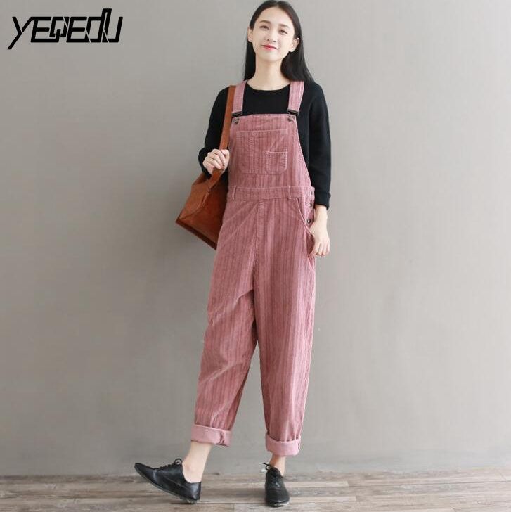 #1124 Spring Autumn Ladies   Jumpsuits   For Women Loose Corduroy   Jumpsuit   Full Length Overalls Romper Vintage Cropped Pink/White