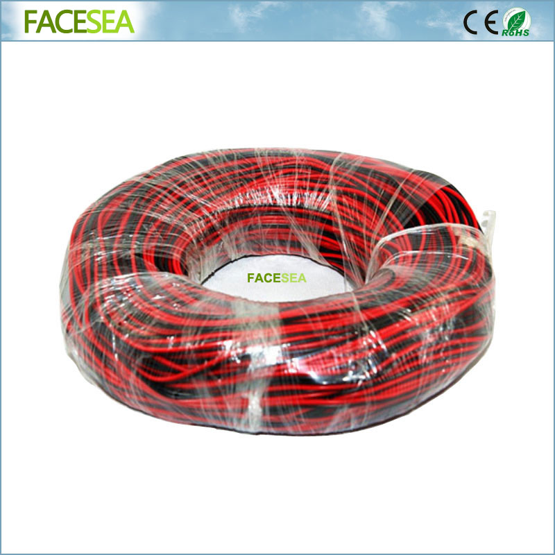 Free DHL 2pcs/5pcs 100M 22AWG 2 Pin Electric Extension Wire Cable Tinned Copper insulated PVC Red Black Extend Cord цена 2017