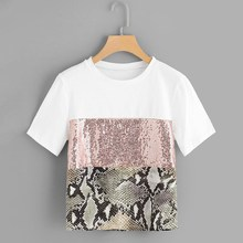 Summer Casual Sequin Leopard Snake Stitching T Shirts Women Short Sleeve Round Neck Black White T-Shirts pink flounced stitching round neck bell sleeves shirts