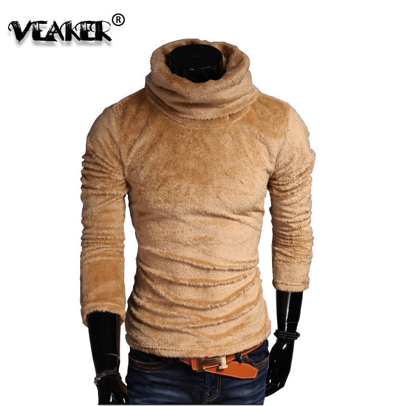 Autumn Men's Velvet Fleece Sweater Pullover 2018 Autumn Winter Male Turtleneck Sweaters Knitted Turtle Neck Pullovers Tops M-3XL