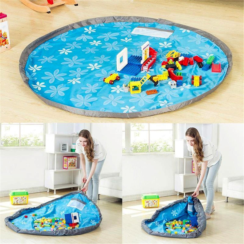 Tela Oxford portátil de organizador de bolsa de almacenamiento de Mat alfombra de Picnic grande 80 cm azul bebé conveniente arrastrándose Mat