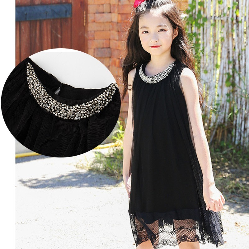 f9d4b11927 Teenage Girls Summer Party Dress Tulle Dresses Kids Princess Children Black  Lace Patchwork Sundress 2019 New Fashion Clothing