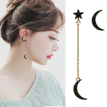 Fashion Full Rhinestones Moon Star Pendant earrings For Women Asymmetric Personality Long Pendientes statement 2019