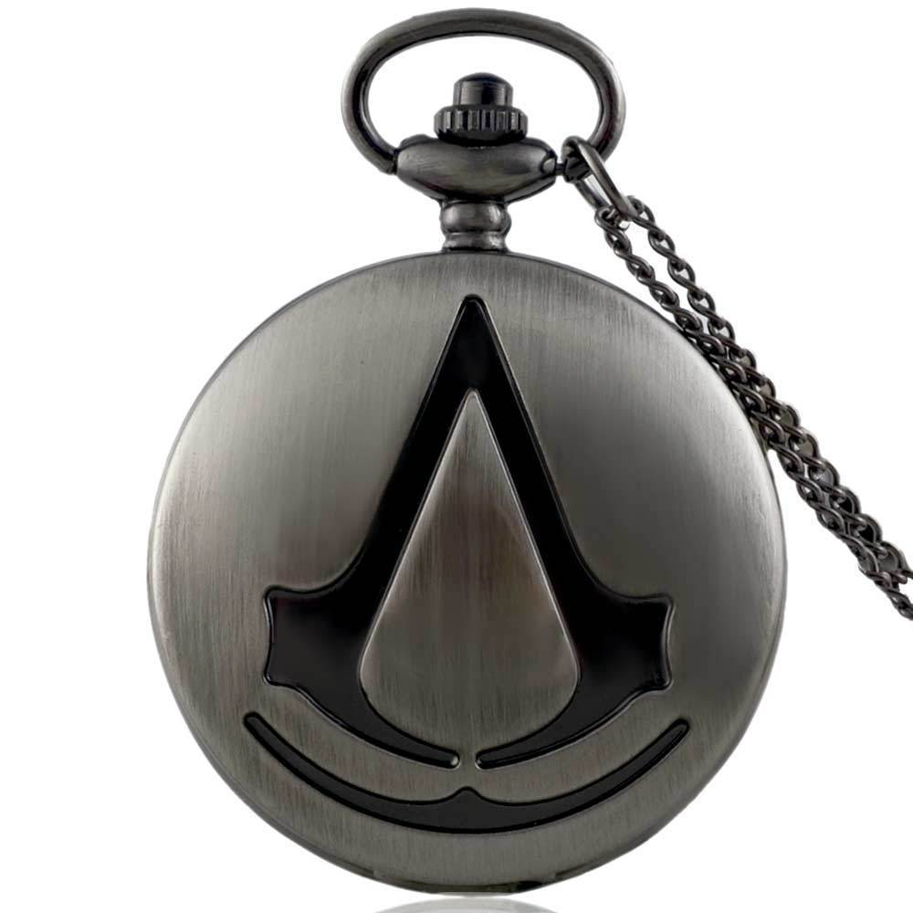 IBEINA Assassin's Creed Theme Full Hunter Quartz Engraved Fob Retro Pendant Pocket Watch Chain Gift