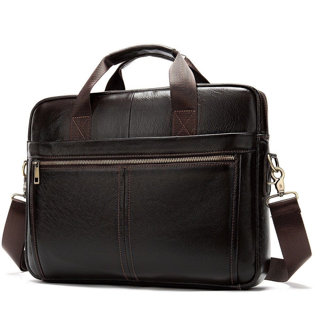 Business-Briefcases Messenger-Bag Leather Laptop Lawyer Men's Genuine-Leather Man