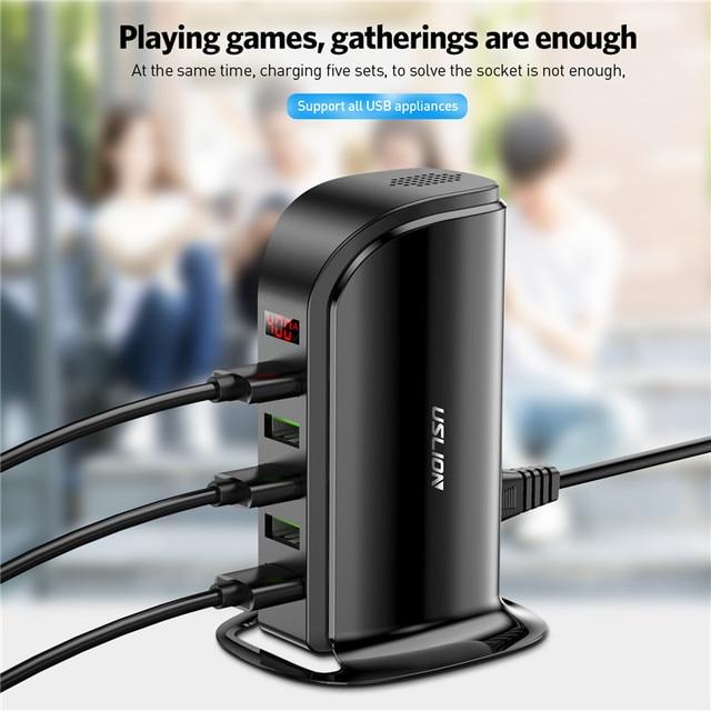 USLION 5 Port USB Charger HUB LED Display Multi USB Charging Station Dock Universal Mobile Phone Desktop Wall Home EU UK Plug 4