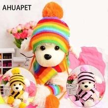 Костюм корги собачья шапка Франс шапка с бульдогом для собак зимние товары Йоркширский терьер трикотажный шарф в полоску щенок наряд костюм