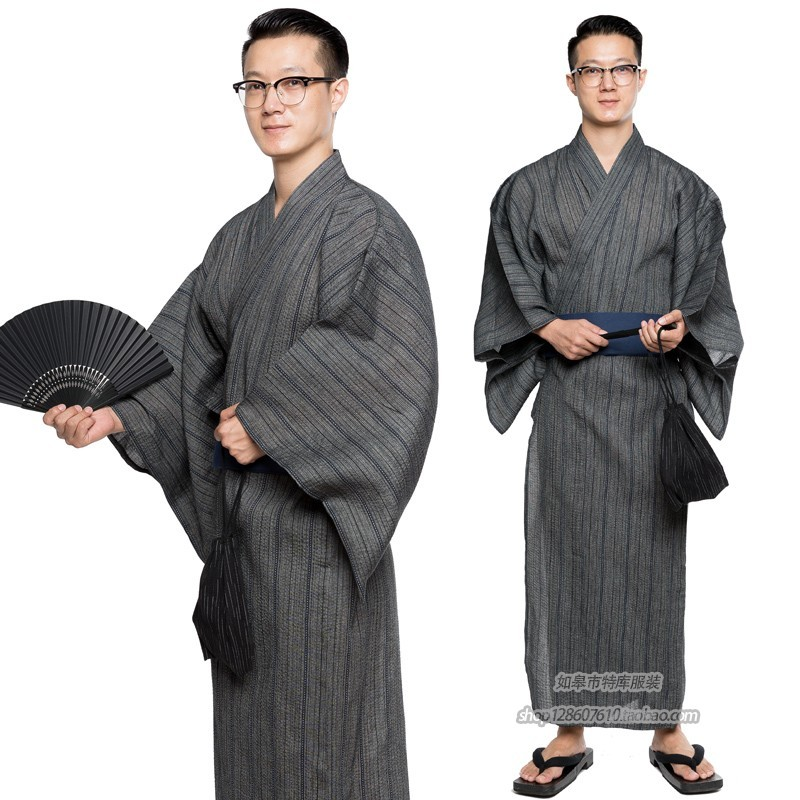 Traditional Japanese Male Cool Kimono Bathrobes Men's Cotton Robe Yukata Men Bath Robe Kimono Sleepwear With Belt And Bag DH049
