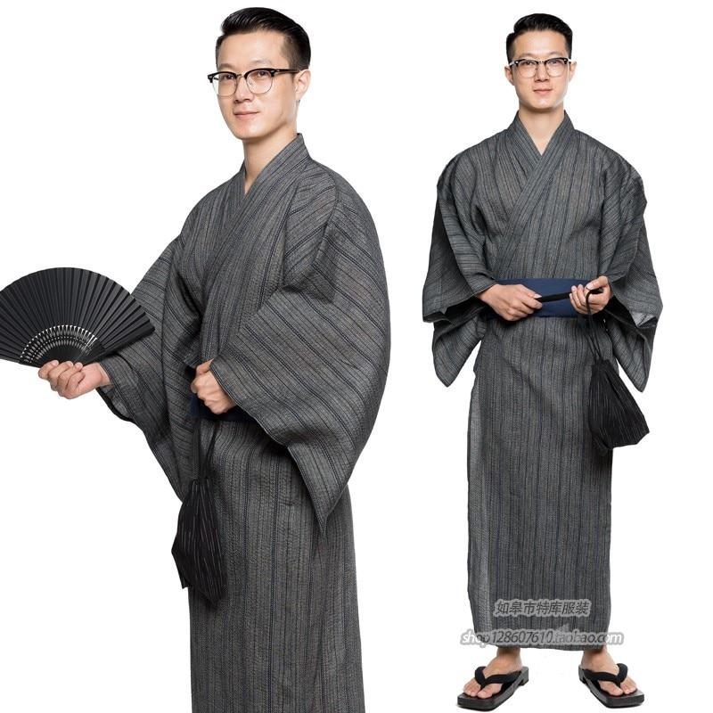 Traditional Japanese Male Cool Kimono Bathrobes Men's Cotton Robe Yukata Men Bath Robe Kimono Sleepwear With Belt And Bag DH049