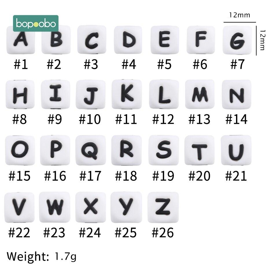 Bopoobo 20Pc Silikon Alphabet Baby Zahnen Buchstaben Perlen Für Rasseln Silikon Perle Beißring Perlen 12MM Baby Silikon Beißring