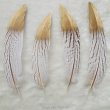 100Pcs/lot,4-6inches Long Gold Dipped Feathers,Nature Silver Pheasant Tail Feathers with Painting,Silver Tails