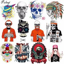 Pulaqi Punk Skull Iron-On Patch Big Size Pvc Heat Transfer Vinyl Stickers Biker Patches Iron On Transfers For Clothing Jacket H(China)