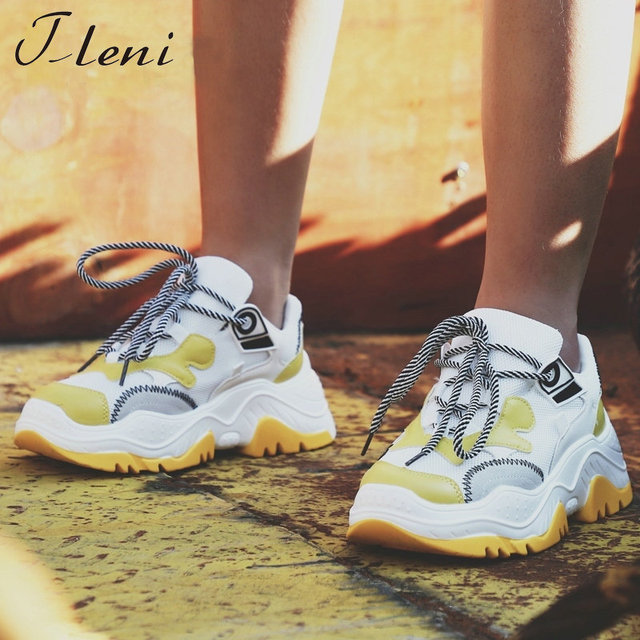 Tleni Woman Sneaker Shoes Breathable 2018 Sneaker Sewing Mixed Colors Autumn Spring Heels Lace-Up running Shoes ZK-22