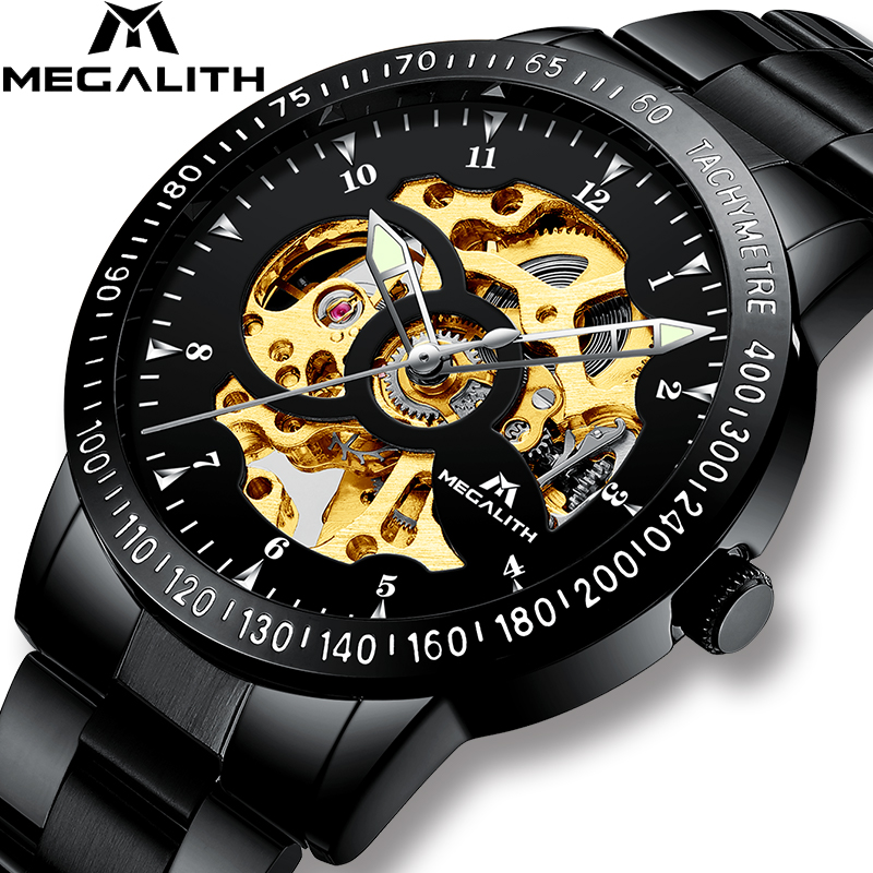 MEGALITH Mens Watches Sport Waterproof Automatic Mechanical Watch Men Stainless Steel Strap Hollow Automatic Wristwatches ClockMEGALITH Mens Watches Sport Waterproof Automatic Mechanical Watch Men Stainless Steel Strap Hollow Automatic Wristwatches Clock
